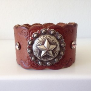 Tooled Leather Cuff with Pink/White Flowers