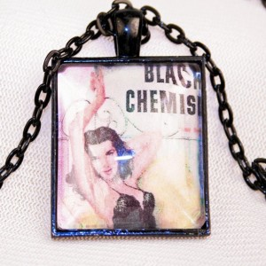 Black Chemise Pulp Fiction Retro Pendant Necklace Fantasy Detective Mystery Books