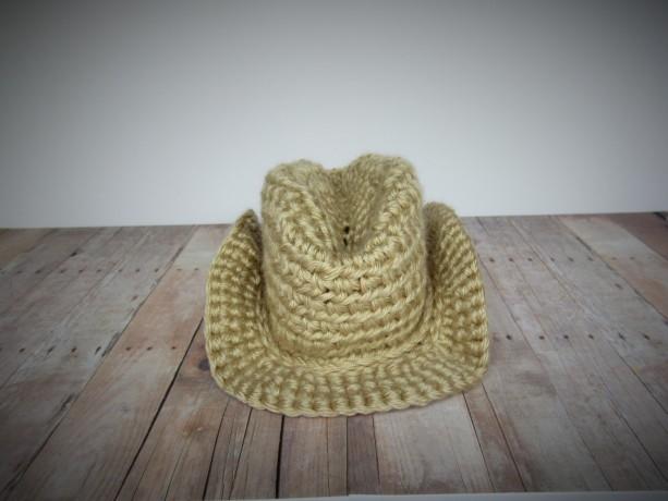 Handmade crochet cowboy hat, crochet cowgirl hat, tan cowboy hat, crochet hat, crochet baby cowboy hat, western wear, cowboy photo prop,
