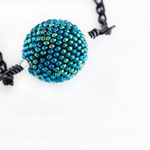 Beaded Bead Necklace // Teal // Green