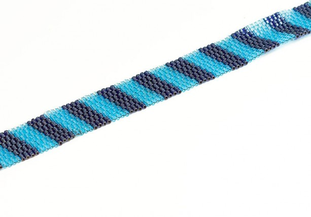 Stripe Beaded Bracelet // Light and Dark Blue