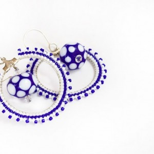 Beaded Hoop Earrings // Blue and White // Lampwork Bead