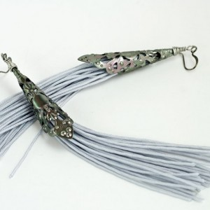Tassel Earrings // Filigree Cones // Gray // Long // Statement Earrings