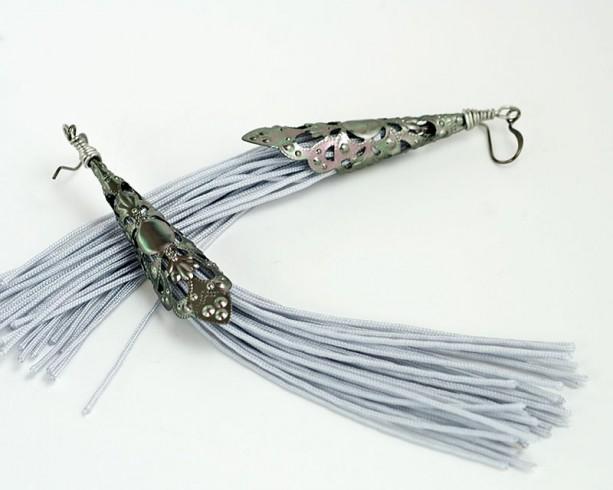 Tassel Earrings // Filigree Cones // Gray // Long // Statement Earrings