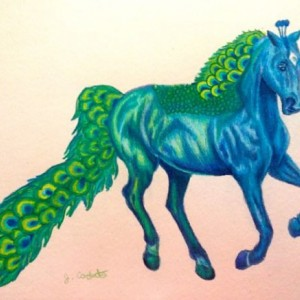 Original Peacock Horse painting drawing. Horse illustration, horse painting,  saddlebred, arabian horse, fantasy  horse, fantasy art, ooak