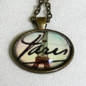 Paris Postcard Eiffel Tower Vintage Necklace
