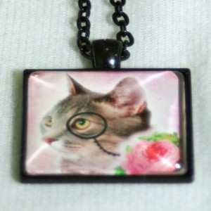 Pink Rose Steampunk Boho Cat Jewelry Pendant