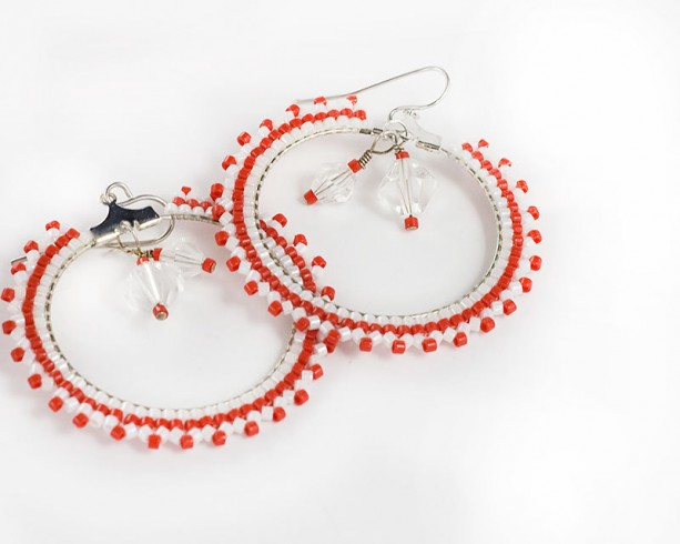 Beaded Hoop Earrings // Red and White // Seed Beads // Beadwork // Glass Crystals