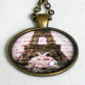 Eiffel Tower Vintage-Inspred Brass Necklace