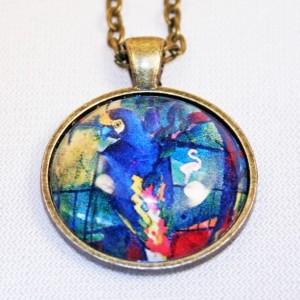 Avant-Garde Parrot Art Print Pendant Necklace