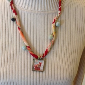 Chirimen Cord Necklace with Abstract Cat Pendant -  Thin Cord Wraps Around Larger Cord and Carry Beads Up the Necklace