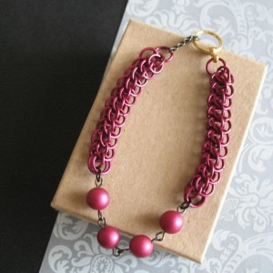Marsala Wine Chainmaille Bracelet Half Persian Chain Link Beaded Jewelry For Women