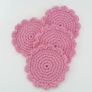 Pink Flower Coaster Set