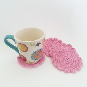 Pink Flower Coaster Set