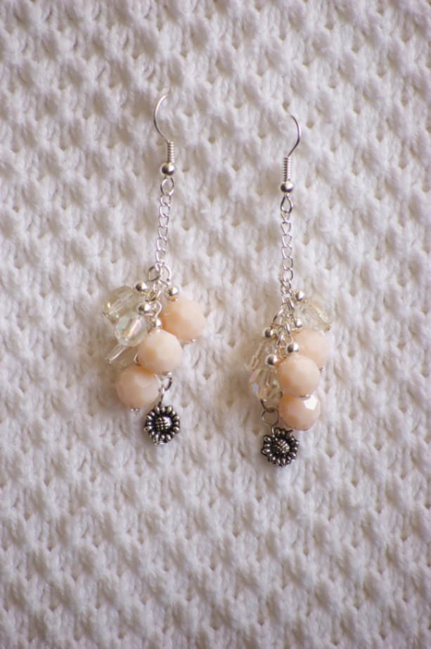 Dangle Earrings with peach and clear glass beads and Sunflower Charm. Spring Earrings. Floral Earrings