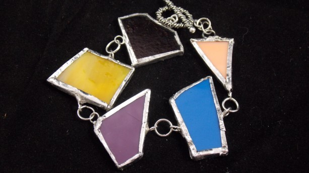 Stained Glass, lead free, one of a kind bracelet