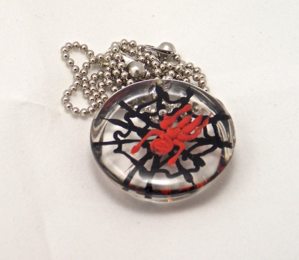 Spider web, red spider, resin pendant, necklace