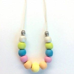 Spring Pastel Rainbow / beaded handmade necklace on pearl leather cord with lobster clasp and sterling plated accent beads
