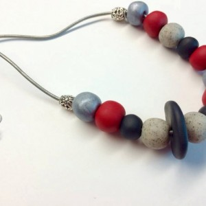Stellar / red black granite silver handmade artist grade polymer clay beaded necklace on leather cording with sterling plated clasp beads