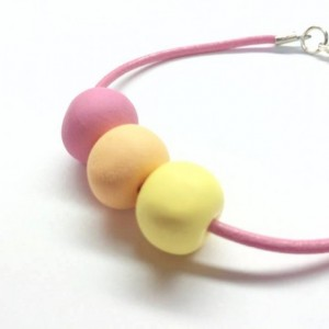 Pastel Petals / handmade artist grade polymer clay beaded bracelet pink leather with sterling silver plated clasp and accent beads colorful