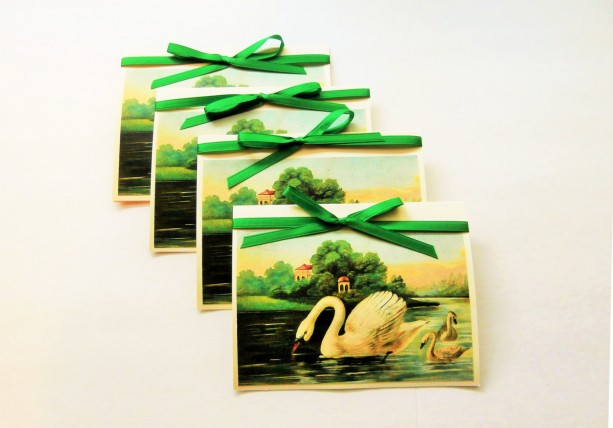 Swan Note Cards | Blank Note Cards | Swan Greeting Cards | Note Card Set | Blank Stationery | Stationery Set | Blank Swan Cards | Pond Scene
