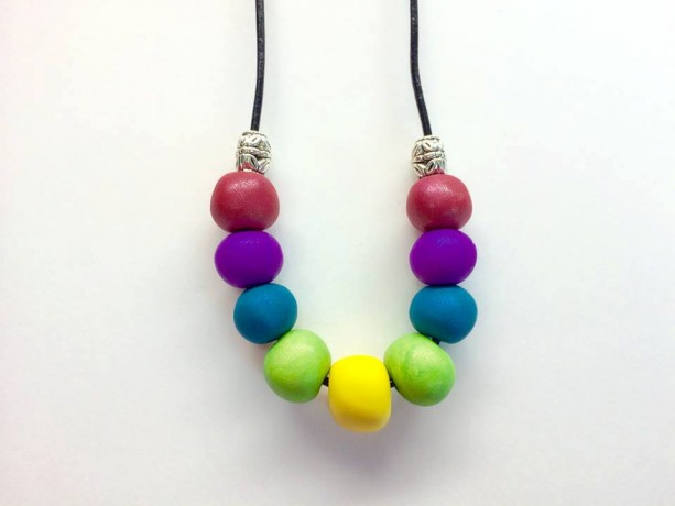 Bright Rainbow / handmade polymer clay bead necklace black leather cord with sterling plated accent beads, sterling plated lobster clasp