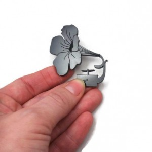 Gramophone Flower Brooch, Black Acrylic, Handmade Laser cut