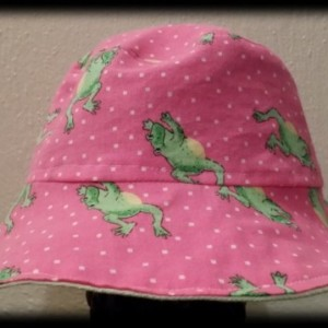 Frog print Reversible Bucket Hat pink green girl print denim child  sizes  ready fly