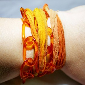 Orange Vintage Lucite Chain Silk Sari Ribbon Wrap Bracelet