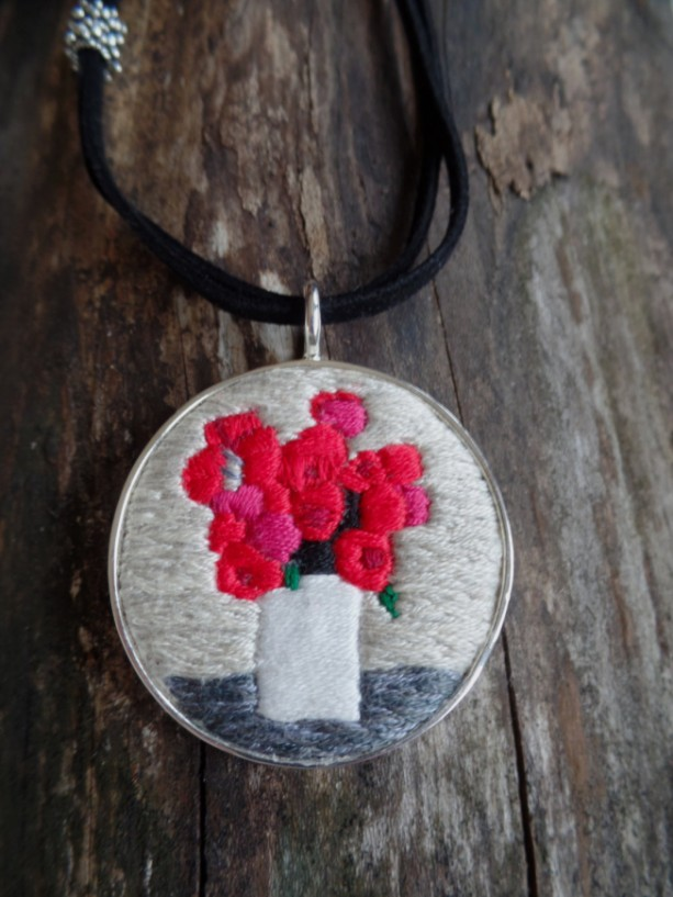 Red Flowers Hand Embroidered Necklace