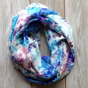 Colorful Floral Print Lightweight Silky Infinity Scarf/Blue White Pink and Light Purple