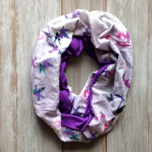 Purple Pink Blue Green Floral & Bird Print Lightweight Infinity Scarf