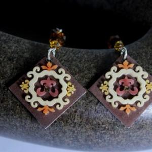 Boho dangle earrings, unique dangle earrings, plastic indie jewelry, flower earrings