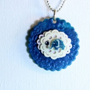 Quirky pendant with blue elephant with a crystal / Unique gift / shrink plastic necklace / shrink art jewelry / elephant jewelry
