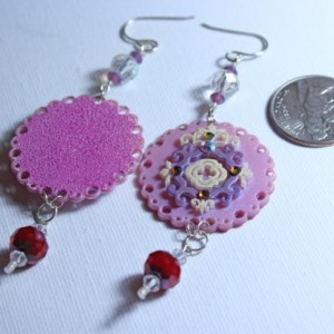 Hot pink / fuchsia / purple plastic statement earrings / sterling silver ear wires / crystals / shrink art jewelry / round shrink plastic