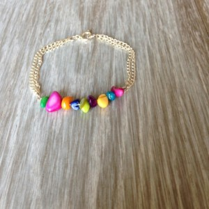 Multicolor Stone Chip and Silver Chain Bracelet