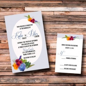 Custom Flower Wedding Invitations with RSVP- Watercolor Wedding Invitations