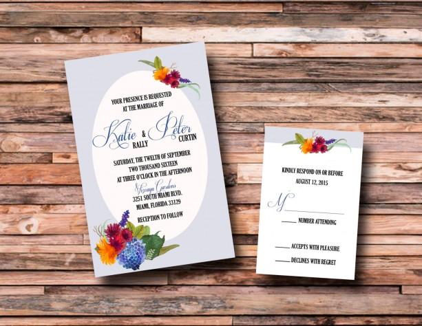 Custom flower wedding invitations with rsvp watercolor wedding i custom flower wedding invitations with rsvp watercolor wedding invitations junglespirit Choice Image