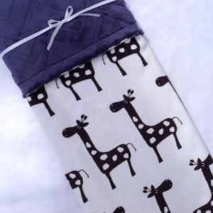 Giraffe Baby Blanket - Navy Blue Blanket - Baby Blanket - Minky Baby Blanket - Black Giraffe with Navy Blue Chevron