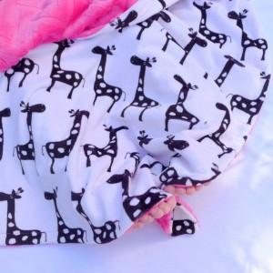 Giraffe Baby Blanket - Fuchsia Pink Blanket - Baby Blanket - Minky Baby Blanket - Black Giraffe with Fuchsia Pink Chevron