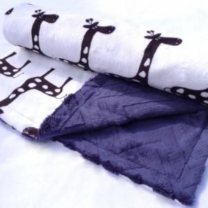 Giraffe Baby Blanket - Navy Blue Blanket - Baby Blanket - Minky Baby Blanket - Black Giraffe with Navy Blue Chevron