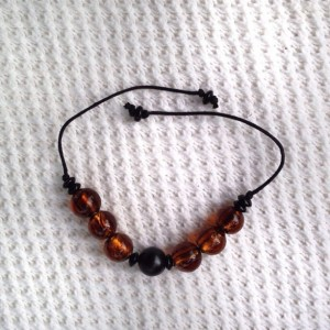 Chunky Amber and Black Beaded Braided Bracelet, Earth Tone Glass Beads