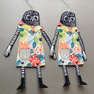Alicia Owl Paper Doll - barred owl ornament card alternative paper goods