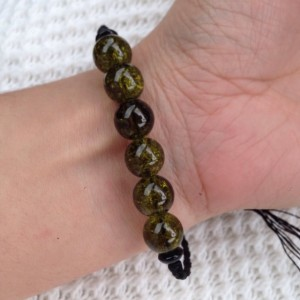 Dark Earth Green Glass Beaded Black Braided Bracelet