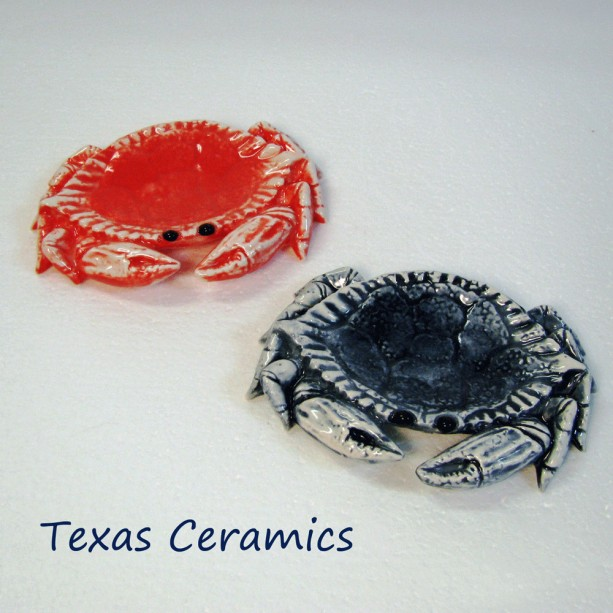 Ceramic Crab Teabag Holder Small Spoon Rest Table Accent in Coral Red or Marine Blue