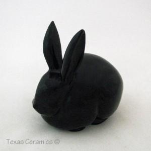 Black Ceramic Cottontail Bunny Rabbit Ceramic Cotton Ball Holder for Bath Vanity or Dresser