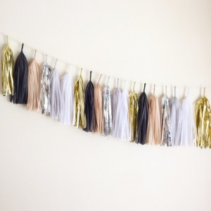 Black & Tan Tassel Garland Party Supply Wedding Decor Banner Bunting