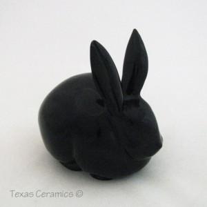 Black Ceramic Cottontail Bunny Rabbit Ceramic Cotton Ball Holder for Bath Vanity or Dresser