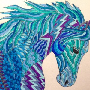 Original Arabian Horse zentangle doodle art. 8x10. Horse painting, horse drawing, fantasy horse, zentangle horse, doodle horse, OOAK horse