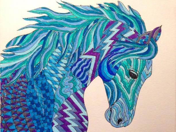 Original Arabian Horse zentangle doodle art. 8x10. Horse painting, horse drawing, fantasy horse, zentangle horse, doodle horse, OOAK horse